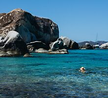Swimming at the Baths on Virgin Gorda, British Virgin Islands, BVI by Georgia Mizuleva
