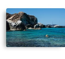 Swimming at the Baths on Virgin Gorda, British Virgin Islands, BVI Canvas Print