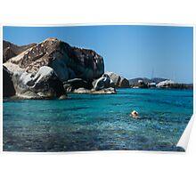 Swimming at the Baths on Virgin Gorda, British Virgin Islands, BVI Poster