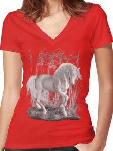 Ivory .. a white stallion Women's Fitted V-Neck T-Shirt