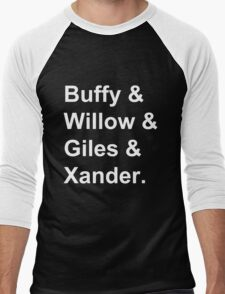 Buffy & Willow & Giles & Xander. Men's Baseball ¾ T-Shirt