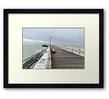 Wooden pier entrance of North Sea port in Nieuwpoort Framed Print