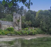 Church on the creek with swans by Mortimer123