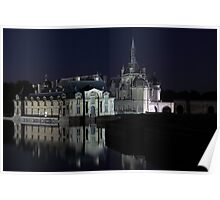 Chantilly, details of the castle at night, Oise, France. Poster