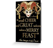 Shakespeare Comedy Of Errors Feast Quote Greeting Card