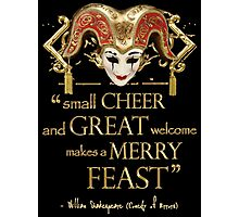Shakespeare Comedy Of Errors Feast Quote Photographic Print