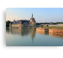 Chantilly, the castle at the golden hour, France. Canvas Print