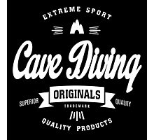 Cave Diving Extreme Sport White Design Art Photographic Print