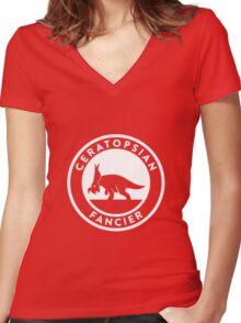 Ceratopsian Fancier Tee (White on Dark) Women's Fitted V-Neck T-Shirt