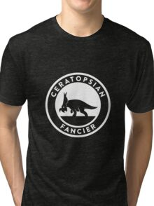 Ceratopsian Fancier Tee (White on Dark) Tri-blend T-Shirt