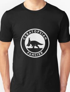 Ceratopsian Fancier Tee (White on Dark) T-Shirt