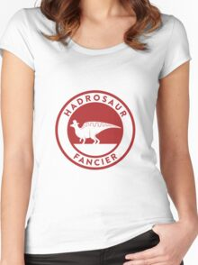 Hadrosaur Fancier (Red on White) Women's Fitted Scoop T-Shirt
