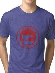 Hadrosaur Fancier (Red on White) Tri-blend T-Shirt