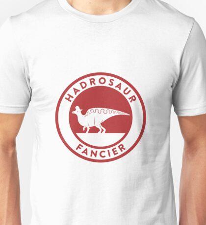 Hadrosaur Fancier (Red on White) Unisex T-Shirt