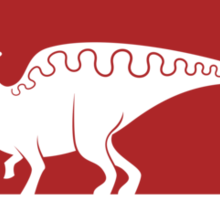 Hadrosaur Fancier (Red on White) Sticker