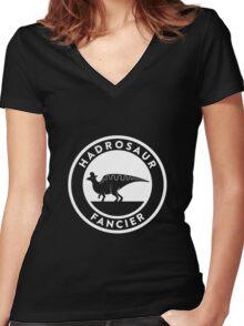 Hadrosaur Fancier (White on Dark) Women's Fitted V-Neck T-Shirt