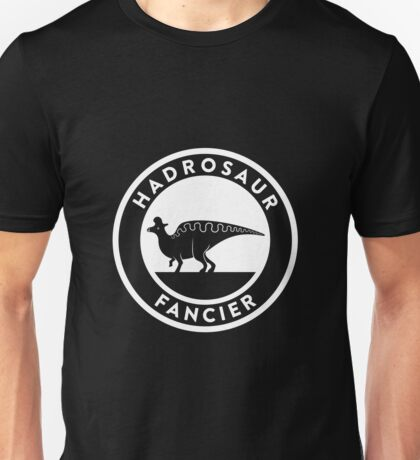 Hadrosaur Fancier (White on Dark) Unisex T-Shirt