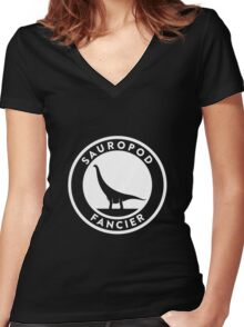 Sauropod Fancier (White on Dark) Women's Fitted V-Neck T-Shirt