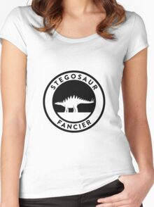 Stegosaur Fancier (Black on Light) Women's Fitted Scoop T-Shirt