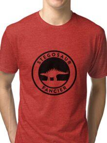 Stegosaur Fancier (Black on Light) Tri-blend T-Shirt
