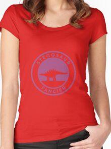 Stegosaur Fancier (Violet on White) Women's Fitted Scoop T-Shirt