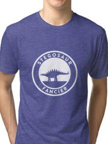 Stegosaur Fancier (White on Dark) Tri-blend T-Shirt