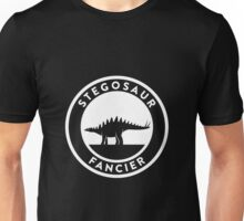 Stegosaur Fancier (White on Dark) Unisex T-Shirt