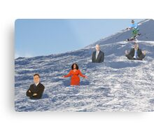 In order to prepare for the Olympics, Bryon must practice skiing the moguls.  Metal Print