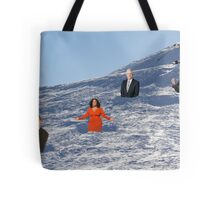 In order to prepare for the Olympics, Bryon must practice skiing the moguls.  Tote Bag