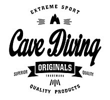 Cave Diving Extreme Sport Black Design Art Photographic Print