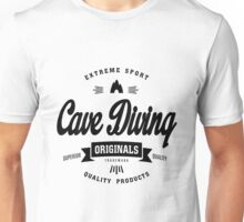Cave Diving Extreme Sport Black Design Art Unisex T-Shirt