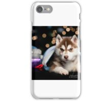 Siberian Husky Puppy At Christmas iPhone Case/Skin