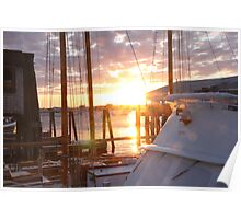 Sunset over wharf Poster