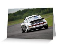 Silver Porsche 911 racing car Greeting Card