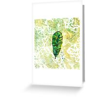 Gorgeous Yellow-Green Feather Greeting Card