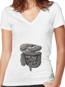 psychedelic intestines Women's Fitted V-Neck T-Shirt