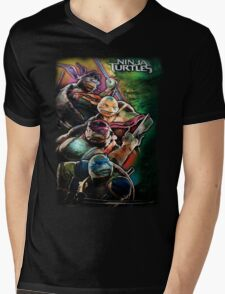 2014 TMNT Ninja Turtles movie poster shirt Mens V-Neck T-Shirt