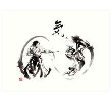 Aikido federation show double enso fight line circle martial arts japan  Art Print