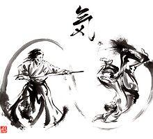 Aikido federation show double enso fight line circle martial arts japan  by Mariusz Szmerdt