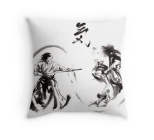 Aikido federation show double enso fight line circle martial arts japan  Throw Pillow