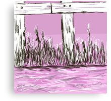 Pink and fence Canvas Print