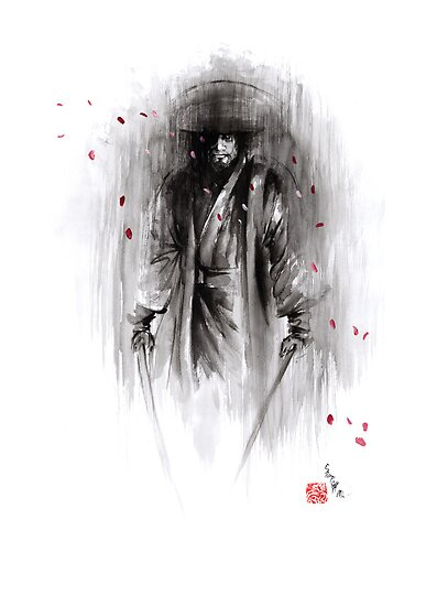 Samurai ronin gift for dad wedding gift unique painting sword rain night revenge cherry blossom sakura bushido by Mariusz Szmerdt