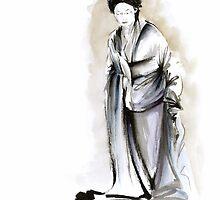Geisha classical figure woman kimono wearing old style painting by Mariusz Szmerdt