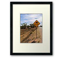 Beware Kangaroos. Framed Print
