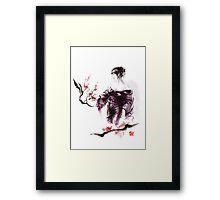 Geisha Geiko maiko young girl Kimono Japanese japan woman sumi-e original painting cherry blossom sakura pink water Framed Print