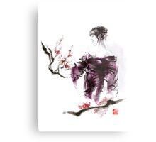 Geisha Geiko maiko young girl Kimono Japanese japan woman sumi-e original painting cherry blossom sakura pink water Metal Print