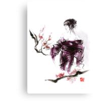 Geisha Geiko maiko young girl Kimono Japanese japan woman sumi-e original painting cherry blossom sakura pink water Canvas Print