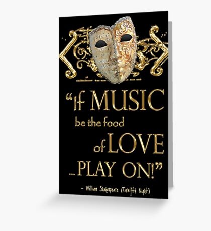 Shakespeare Twelfth Night Love Music Quote Greeting Card