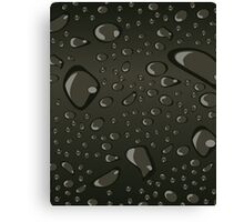 Water Droplets Black Canvas Print