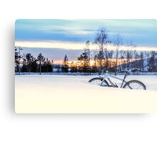 A Snowy Bike Ride Metal Print